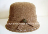 Fashion Knitted Wool Hat with Button for Women