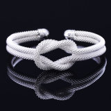 Fashion Plated Silver Knotted Woven Mesh Bracelet for Ladies