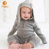 Rabbit Ear Embroidery Design Autumn Knitting Cotton Children Romper for Baby Apparel