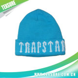 Blue Jacquard Acrylic Knitted Winter Reversible Beanie Hat (084)