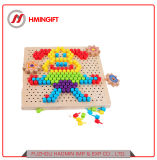 Wholesale Wood Colorful Mushroom Nails Puzzle Board Educational Toy for Kindergarten Children