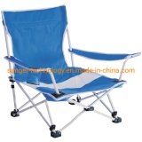 Cheap Lower Seat Folding Chair in Striped Style, Reclining Beach Chair with Painted Frame, Armrest Camping Chair for Sell