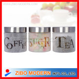 Frosted Glass Storage Jar with Metal Lid