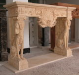 Yellow Marble Carving Dog Sculpture Fireplace