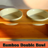Pet Double Feeding Bowl with Bamboo Base