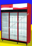 Glass Door Upright Merchandiser Beer Display Fridge Cooler with Caster