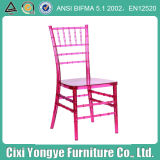 Transparent Rose Red Resin Chivari Chair at Party