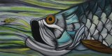 Wholesale Handmade Marine Life Fish Oil Paintings on Canvas for Home Decor