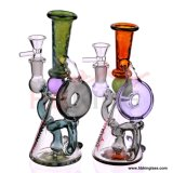 Hb King 2017 New Arrival Colorful Oil Rig Beaker Base Lotus Perc Glass Water Pipe Recycler Pipes Rose Glass Smoking Pipe