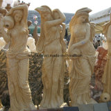 Yellow Marble Sculpture for Garden Fountain