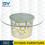 Furniture LED Table Tempered Glass Top Dining Table with Stainless