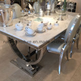 Modern Ivory Cream Marble Top Arianna Chrome Dining Table Stainless Steel with Cream Velvet Fabric Chairs