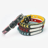 Pet Supply, Real Leather Braided Laser Making Dog Collar