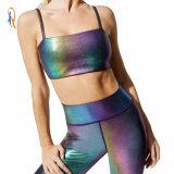 Women Crop Top Sale Sportswear Fitness Black Shining Bra