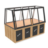 Large Self-Serve Natural Wood Clear Acrylic Glass Cake Showcase Bakery Display Solutions Cabinet Case Rack