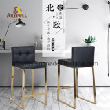 Commercial Bar Furniture Titanium Gold Polish Stainless Steel PU Leather Seat Bar Stool