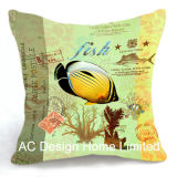 Decoration Square Tropical Fish Design Decor Fabric Cushion W/Filling