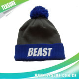 Customized Cuffed Beanie Knitted Hat with Pompom Ball (092)