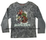 Dragon Pattern Printed Cotton T Shirt for Boy with Monkey Wash