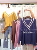 Ladies Striped V Neck Mohair Sweater