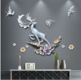 Round Mirror and Modern Deer Wall Art for Home Decoration