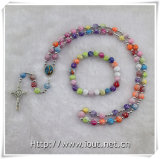 Multicolor Plastic Bead Rosary. Plastic Beads Rhinestone Chain Rosary Necklace (IO-crs013)