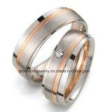 OEM Design Rose Gold Plated Couple Wedding Bands Solid Brass Jewellery Shop Window Display