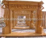 Top Quality Marble Fireplace with Sculpture (SK-2568)