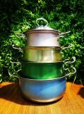 African Indian Style Color Painting Green/Blue/Gold/Rose Gold Stainless Steel Kitchenware Cooking 3-4 PCS Set Pot with Lid