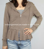 Women Knitted V Neck Fashion Clothes with Zipper (121AW-280)