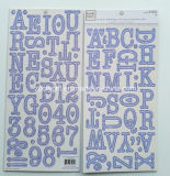 Alpha Chipboard Letters Sticker En Carton Gris