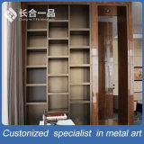 Customized Antique Barass Stainless Steel Bookcase/Bookrack for Living Room