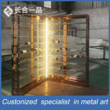 Customized Rose Gold Wine Display Rack with Glass Door