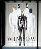 Male Standing Plastic Mannequin with Chrome Face