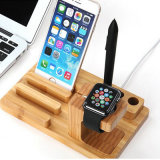 Factory Supply Bamboo Wooden Exquisite Universal Pen Mobile Phone Multifunction Wood Desktop Holder for Apple Watch