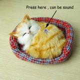 New Design Kawaii Simulation Sounding Sleeping Cats Plush Toy with Nest Children's Favorite Birthday Christmas Gift