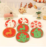 Christmas New Year Wool Felt Placemat Drink Beer Cup Mat Coffee Placemat Gift Elk