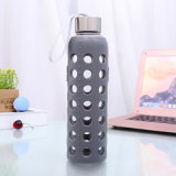 Wevi 500ml Leak-Proof Outdoor Sport Heat Resistant Glass Water Bottles with Silicone Sleeve