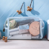 Leather Logo Label Waterproof Soft PVC TPU See-Through Travel Clear Makeup Bag with Mesh Pattern