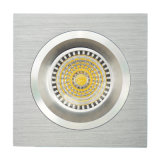 Lathe Aluminum GU10 MR16 Square Fixed Recessed LED Downlight (LT2109)