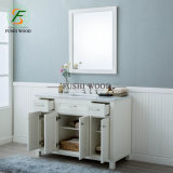Solid Wood Bathroom Side Cabinet in White with Porcelain Vanity Top