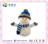 Large White Plush Stuffed Snowman Toy with Cap and Scarf