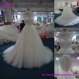 Factory Real Sample A-Line White Wholesale Bridal Gown Cap Sleeve Lace Wedding Dress 160609