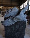 Tropical Green Granite Carved American Eagle Tombstone