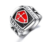 Factory Directly Sell Stainless Steel Titanium Steel Red Armor Shield Knight Templar Crusader Cross Ring Medieval Signet Retro Vintage