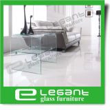 Curved Glass Tea Table with Shelf