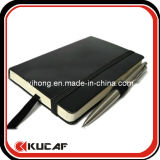 Black Leather Notebook with Pen Attached