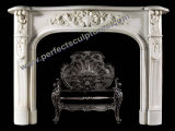 Hand Carved Freestanding White Marble Fireplace for Home Decor (QY-LS383)
