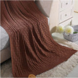 High Quality Fancy-Weave Cotton Knit Blanket (DPFB8016)