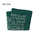 Fashionable Bottle Green Silk Printed Pocket Square Hanky Handkerchief